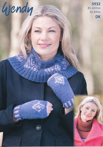 Fairisle Neck Warmer, Fingerless Mitts and Polo Neck Insert in Wendy Merino DK (5932)-Deramores