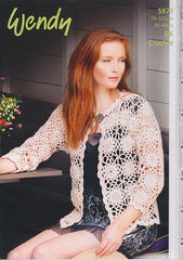 Crochet Motif Cardigan in Wendy Supreme Luxury Cotton Silk DK (5977)