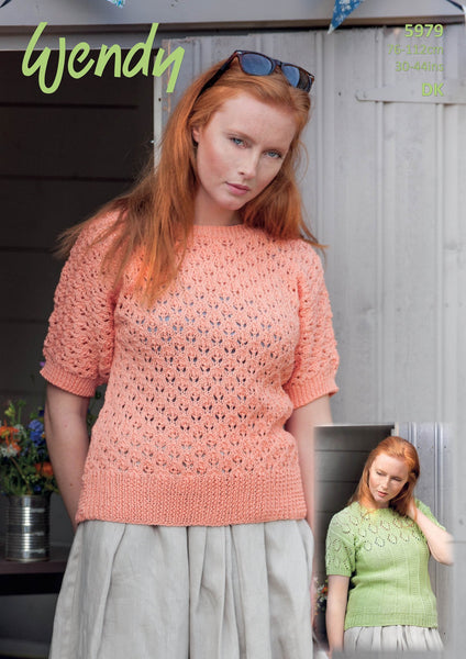 Short Sleeved Tops in Wendy Supreme Luxury Cotton DK (5979)