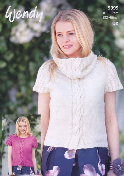 Cap Sleeve Sweater and Cowl in Wendy Fleur DK (5995)