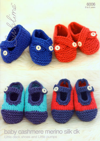 Little Deck Shoes and Little Pumps in Sublime Baby Cashmere Merino Silk DK (6006)-Deramores