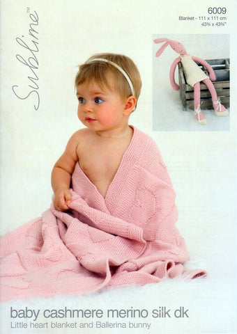 Little Heart Blanket and Ballerina Bunny in Sublime Baby Cashmere Merino Silk DK (6009)-Deramores