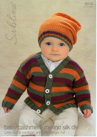 Little Bertie Cardigan and Little Ginger Hat in Sublime Baby Cashmere Merino Silk DK (6016)-Deramores
