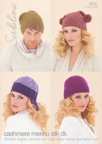 Whistler Beanie, Dante's Hat, Curly Cable Helmet and Medic Hat in Sublime Cashmere Merino Silk DK (6041)