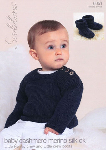 Little Henley Crew and Little Crew Boots in Sublime Baby Cashmere Merino Silk DK (6051)-Deramores