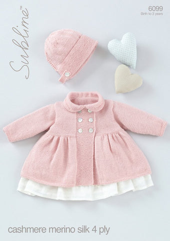 Baby Girls Peter Pan Collared Coat with Bonnet in Sublime Baby Cashmere Merino Silk 4 Ply (6099) - Digital Version-Deramores