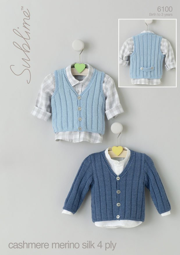 Baby Boys V Neck Cardigan and Waistcoat in Sublime Baby Cashmere Merino Silk 4 Ply (6100)  Digital Version