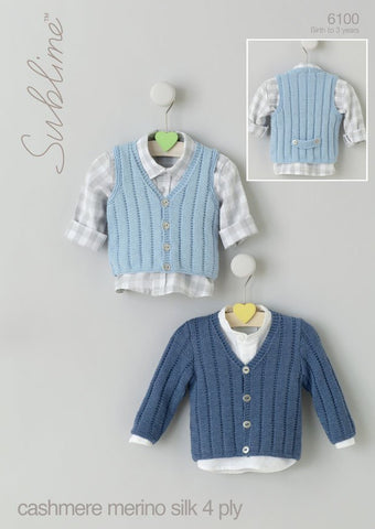 Baby Boys V Neck Cardigan and Waistcoat in Sublime Baby Cashmere Merino Silk 4 Ply (6100) - Digital Version-Deramores