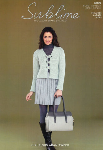 Womens V Neck Jacket in Sublime Luxurious Aran Tweed (6109)