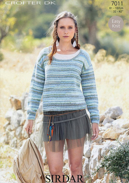 Scoop Neck Sweater in Sirdar Crofter DK (7011)