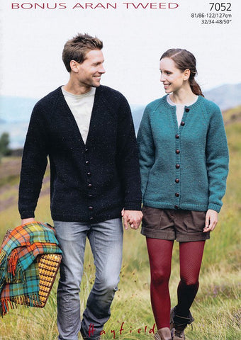 Ladies & Mens Cardigans in Hayfield Bonus Aran Tweed (7052)-Deramores