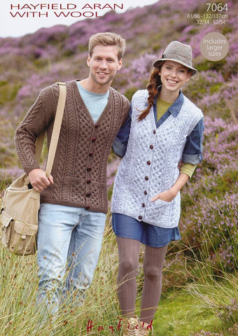 Cardigan and Waistcoat in Hayfield Aran with Wool (7064)-Deramores