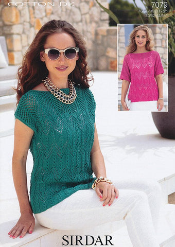 Womans Square and T-Shaped Tops in Sirdar Cotton Dk (7079)