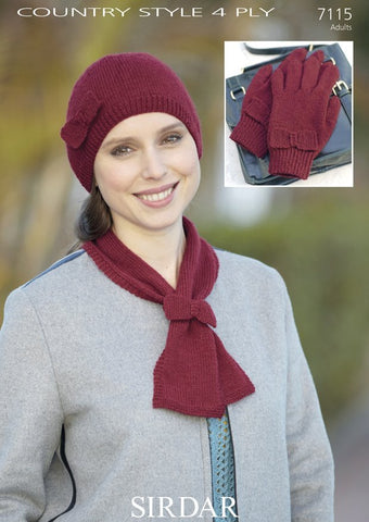Womens Hat, Scarf and Gloves Accessories Set With Bow Detail in Sirdar Country Style 4 Ply (7115)
