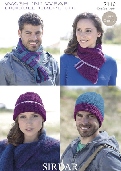 Easy Crochet Hat and Scarf Sets in Sirdar Wash 'n' Wear Double Crepe DK (7116)-Deramores
