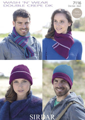 Easy Crochet Hat and Scarf Sets in Sirdar Wash 'n' Wear Double Crepe DK (7116)