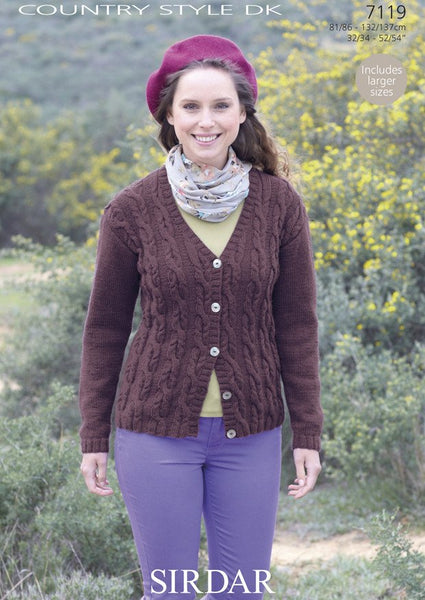 Womens Cardigan in Sirdar Country Style DK (7119)