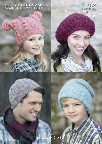 T-Bag, Ribby and Slouchy Pull-On Hats and a Cabled Beret  in Hayfield Aran With Wool (7124)