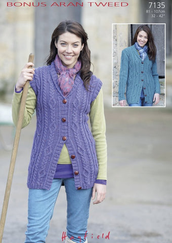 Womens Shawl Collared Waistcoat and Cardigan with Cable Panel in Hayfield Bonus Aran Tweed (7135)