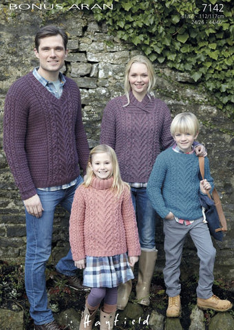 Family Sweaters in Hayfield Bonus Aran (7142)-Deramores