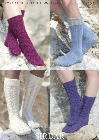 Socks in Sirdar Wool Rich Aran (7181)