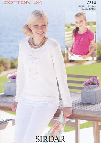 Woman's and Girls Sweaters in Sirdar Cotton DK (7214)