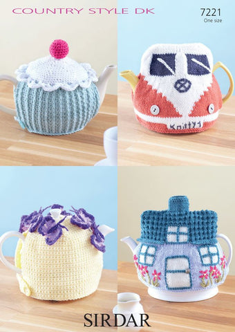 4 Tea Cosies in Sirdar Country Style DK (7221) - Digital Version-Deramores