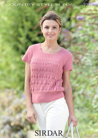 Womens Short Sleeved Top in Sirdar Country Style 4 Ply (7225) - Digital Version