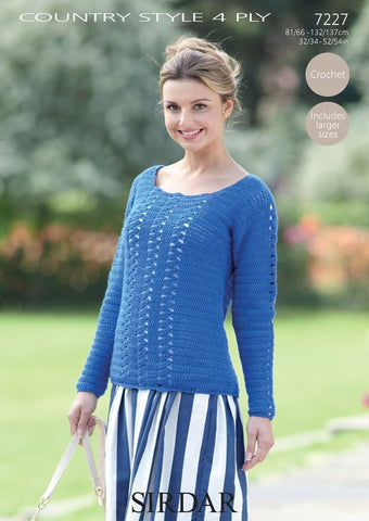 Womens Round Neck Sweater in Sirdar Country Style 4 Ply (7227)