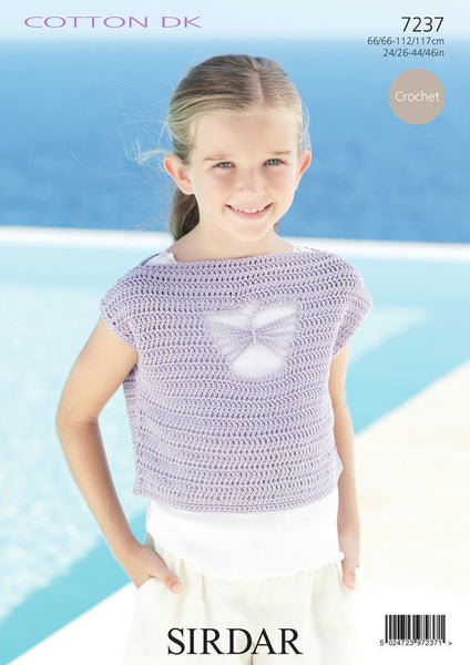 Womens and Girls Short Sleeved and Sleeveless Tops in Sirdar Cotton DK (7237)