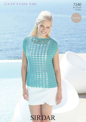 Womens Slash Neck Top in Sirdar Cotton DK (7240) - Digital Version