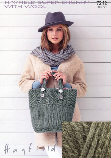 Bags in Hayfield Super Chunky with Wool in Felt Grey Kit with Free Pattern (7242)-Deramores