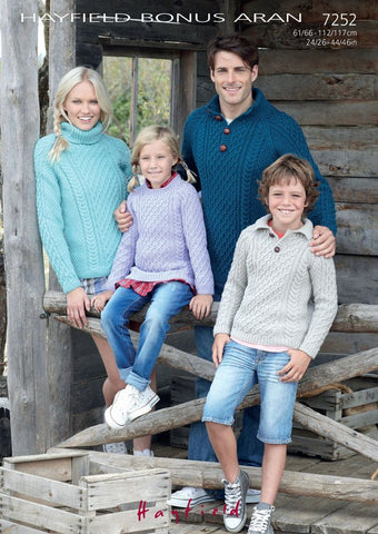 Family Sweaters in Hayfield Bonus Aran (7252)-Deramores