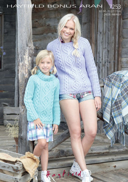 Women's Round Neck and Girl's S.U.N Sweater in Hayfield Bonus Aran (7253) - Digital Version