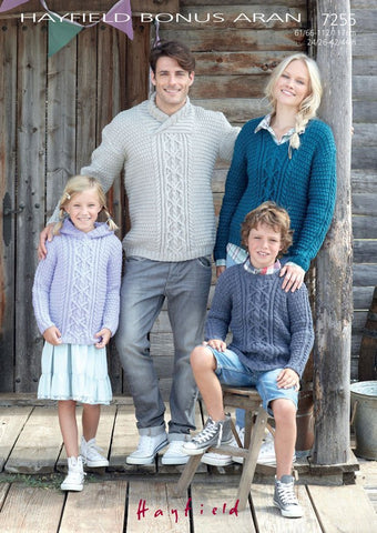 Family Sweaters in Hayfield Bonus Aran (7255)-Deramores