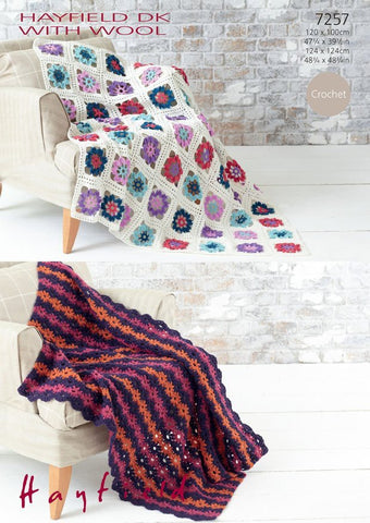 Crochet Flower Throw in Hayfield DK With Wool (7257)-Deramores