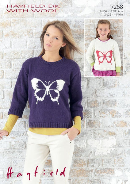 Girls and Womens Round Neck Butterfly Motif Sweater in Hayfield DK With Wool (7258)-Deramores