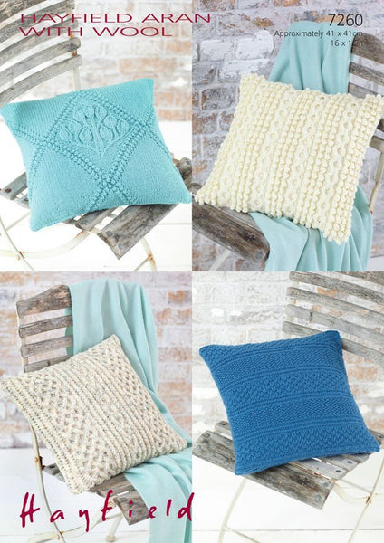 Hayfield Aran Knitting Pattern Books : Cushion Covers in Hayfield Aran with Wool (7260)   Deramores