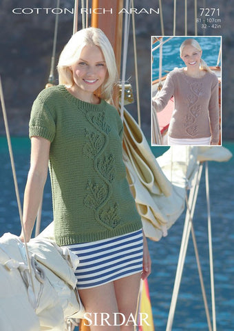 Women's Short and Long Sleeved Sweaters in Sirdar Cotton Rich Aran (7271) - Digital Version