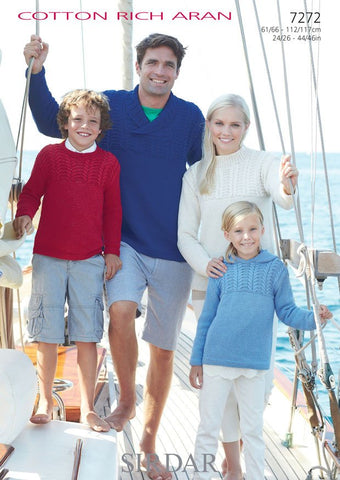 Family Sweaters in Sirdar Cotton Rich Aran (7272) - Digital Version-Deramores