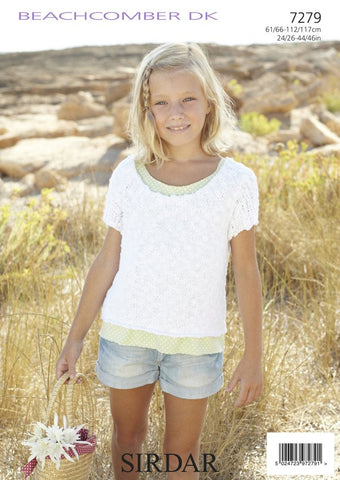 Girls/Women's Round Neck Tops in Sirdar Beachcomber DK (7279)-Deramores