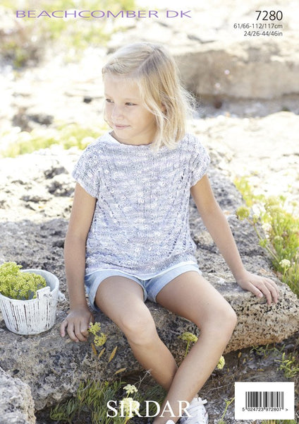 Girls/Women's Slash-Neck Tops in Sirdar Beachcomber DK (7280)-Deramores