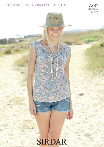 Women's V Neck Top in Sirdar Beachcomber DK (7281)