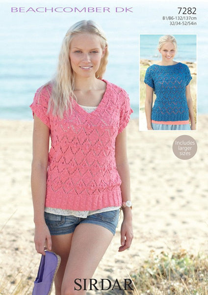 Women's V Neck and Boat Neck Tops in Sirdar Beachcomber DK (7282)