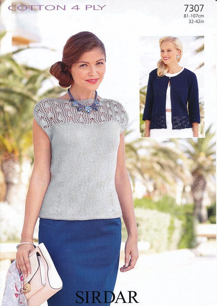 Top and Cardigan in Sirdar Cotton 4 Ply (7307) - Digital Version