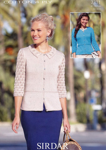 Cardigan in Sirdar Cotton 4 Ply (7311)-Deramores