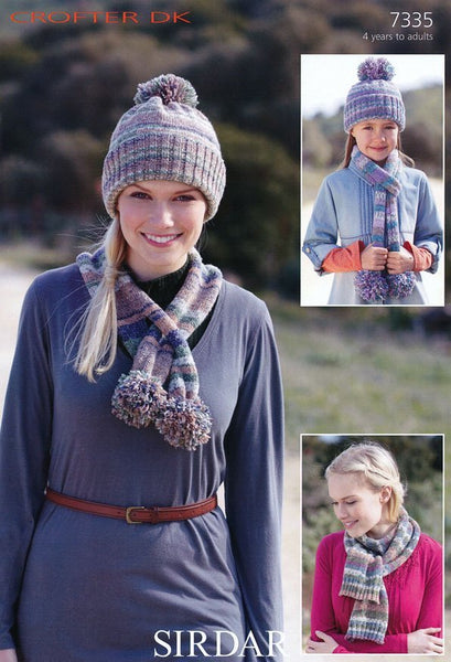 Pull on Hat and Scarves with Pom Poms/Ribbed Ends in Sirdar Crofter DK (7335)
