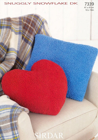 Heart and Square Cushion Covers in Sirdar Snuggly Snowflake DK (7339)-Deramores