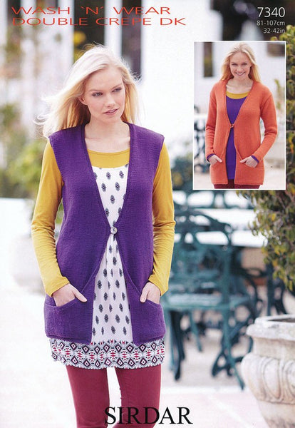 Women's Cardigan and Waistcoat in Sirdar Wash 'n' Wear Double Crepe DK (7340)
