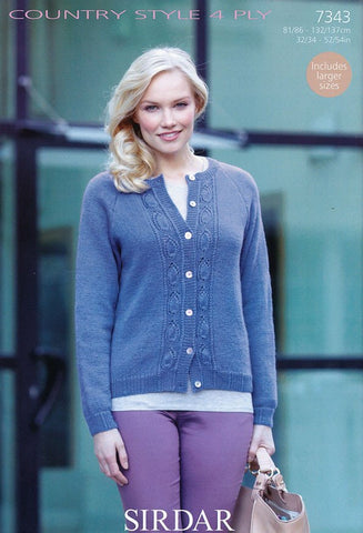 Womens Cardigan with Leaf Pattern in Country Style 4 Ply (7343)